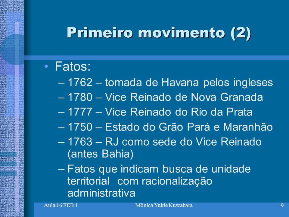 Primeiro movimento (2) Fatos: 1762 – tomada de Havana pelos ingleses