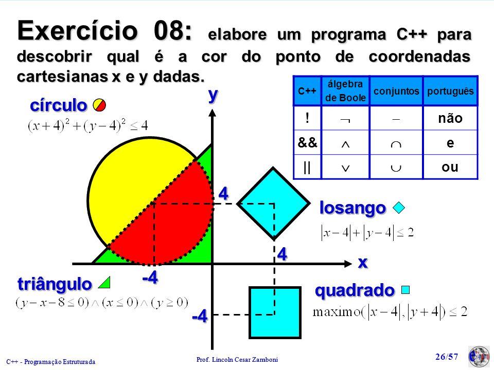 Exercício 08: elabore um programa C++ para descobrir qual é a cor do ponto de coordenadas cartesianas x e y dadas.