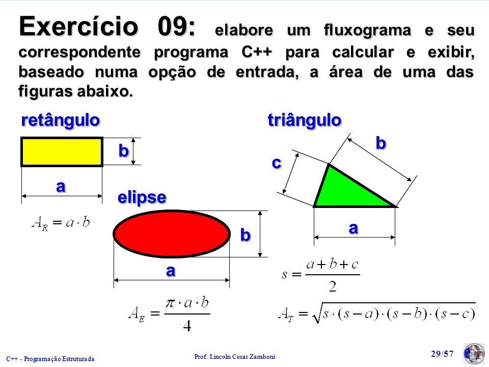 Exercício 09: elabore um fluxograma e seu correspondente programa C++ para calcular e exibir, baseado numa opção de entrada, a área de uma das figuras abaixo.