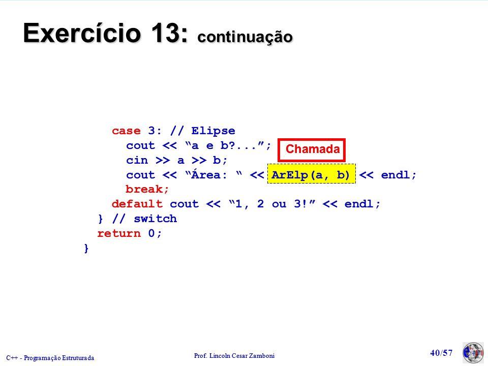 Exercício 13: continuação