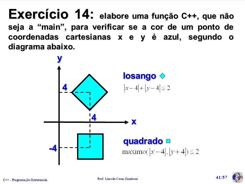Exercício 14: elabore uma função C++, que não seja a main , para verificar se a cor de um ponto de coordenadas cartesianas x e y é azul, segundo o diagrama abaixo.
