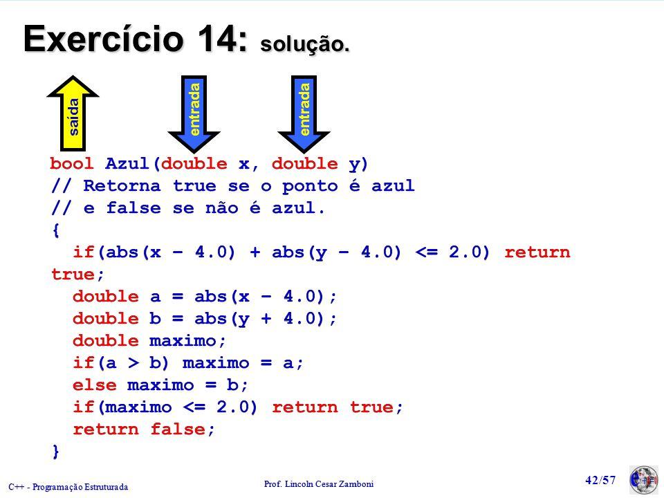 Exercício 14: solução. bool Azul(double x, double y)