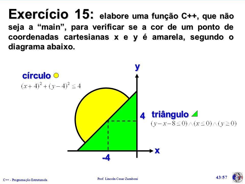 Exercício 15: elabore uma função C++, que não seja a main , para verificar se a cor de um ponto de coordenadas cartesianas x e y é amarela, segundo o diagrama abaixo.
