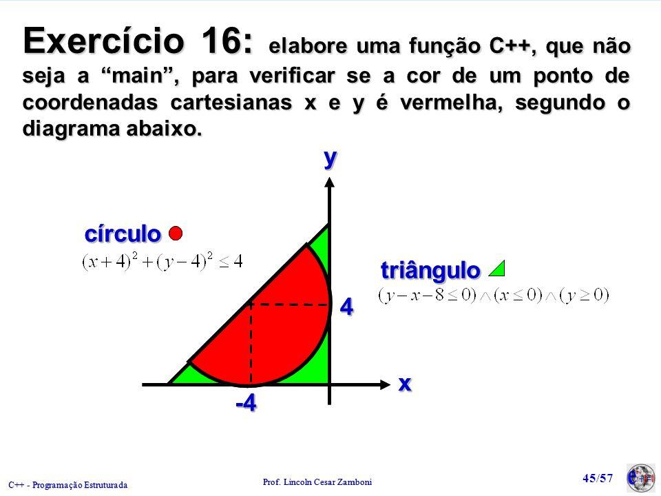 Exercício 16: elabore uma função C++, que não seja a main , para verificar se a cor de um ponto de coordenadas cartesianas x e y é vermelha, segundo o diagrama abaixo.