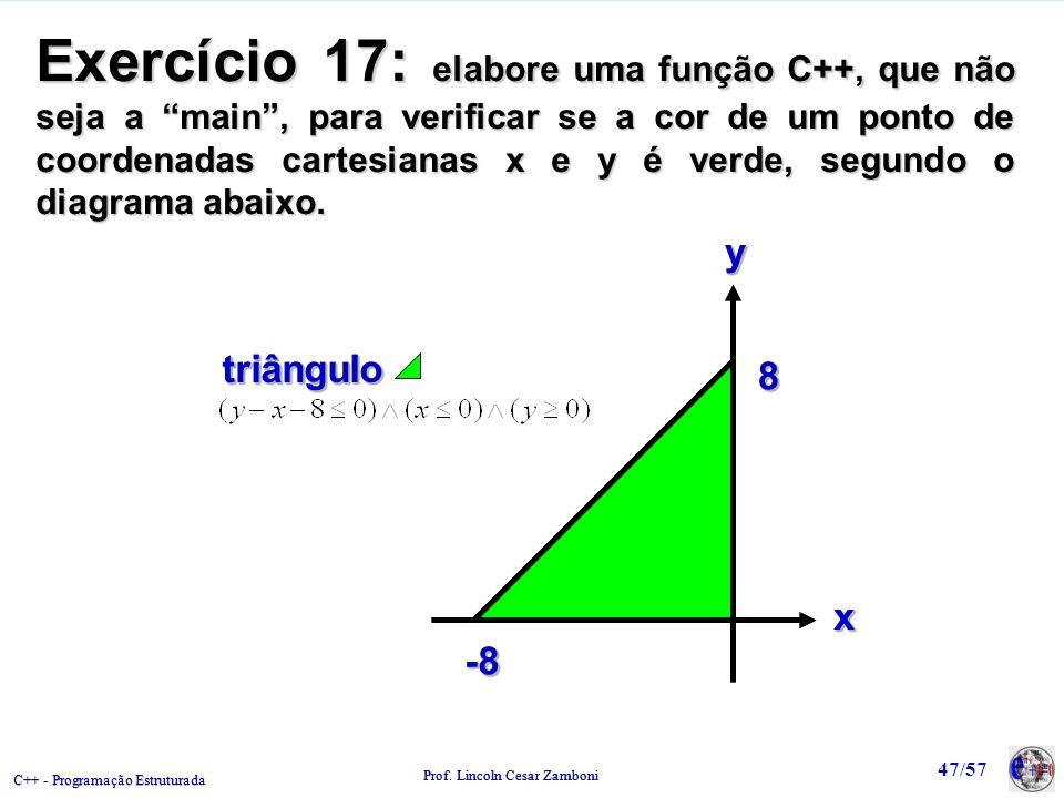 Exercício 17: elabore uma função C++, que não seja a main , para verificar se a cor de um ponto de coordenadas cartesianas x e y é verde, segundo o diagrama abaixo.