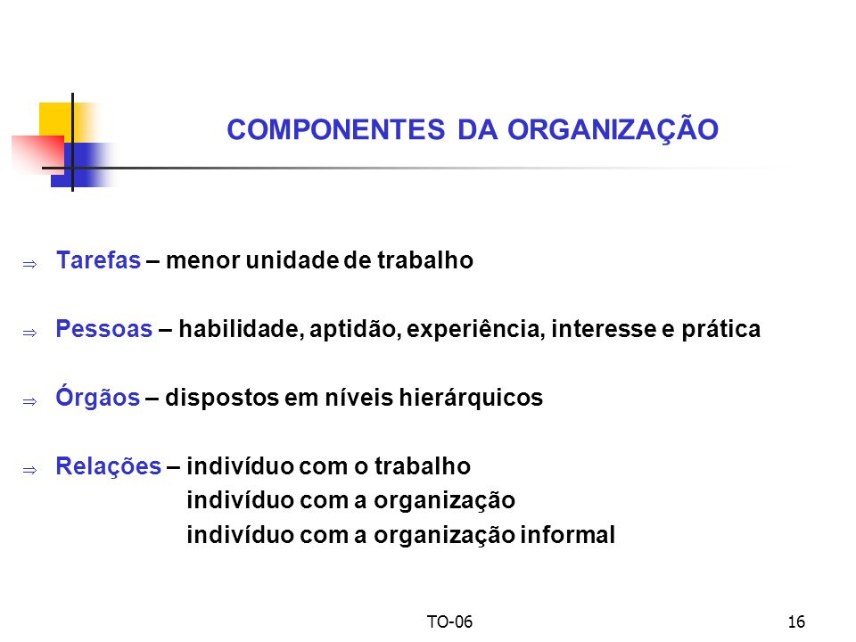 COMPONENTES DA ORGANIZAÇÃO