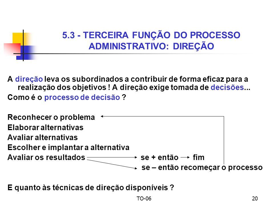 5.3 - TERCEIRA FUNÇÃO DO PROCESSO ADMINISTRATIVO: DIREÇÃO