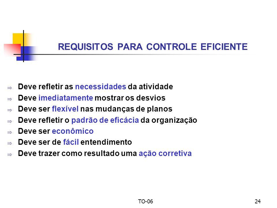 REQUISITOS PARA CONTROLE EFICIENTE