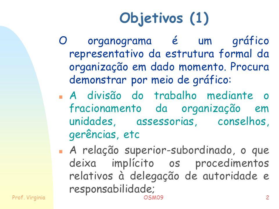 Objetivos (1) O organograma é um gráfico representativo da estrutura formal da organização em dado momento. Procura demonstrar por meio de gráfico: