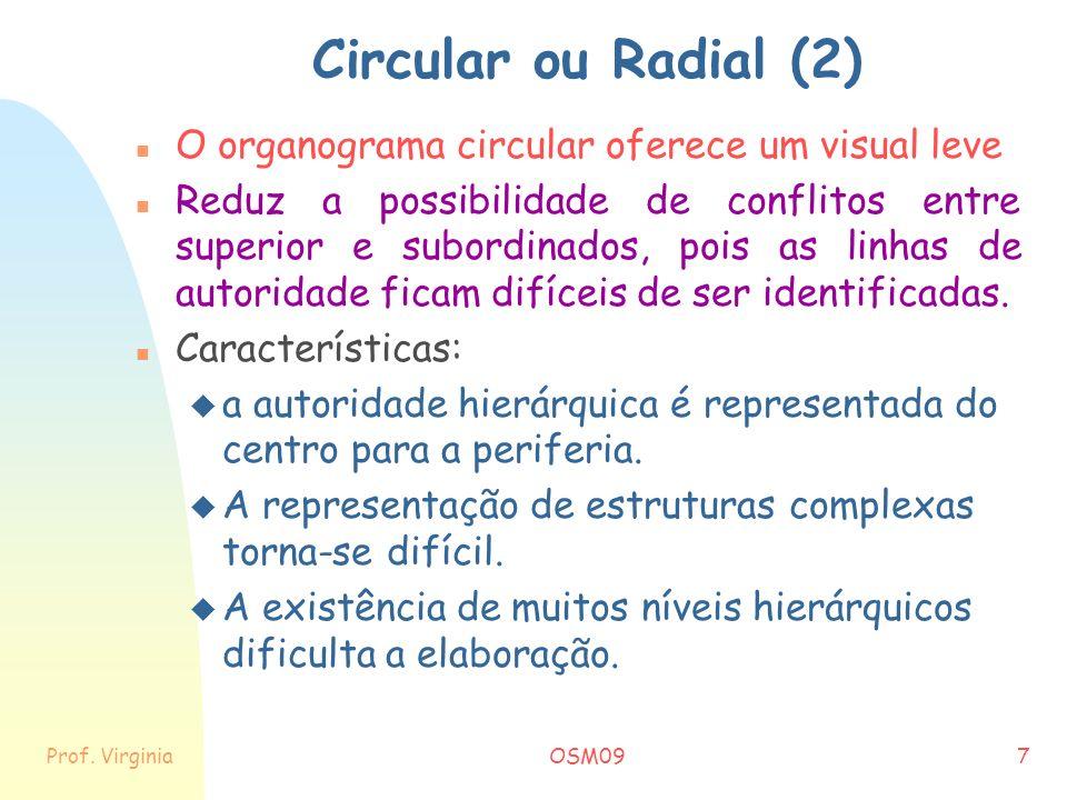 Circular ou Radial (2) O organograma circular oferece um visual leve