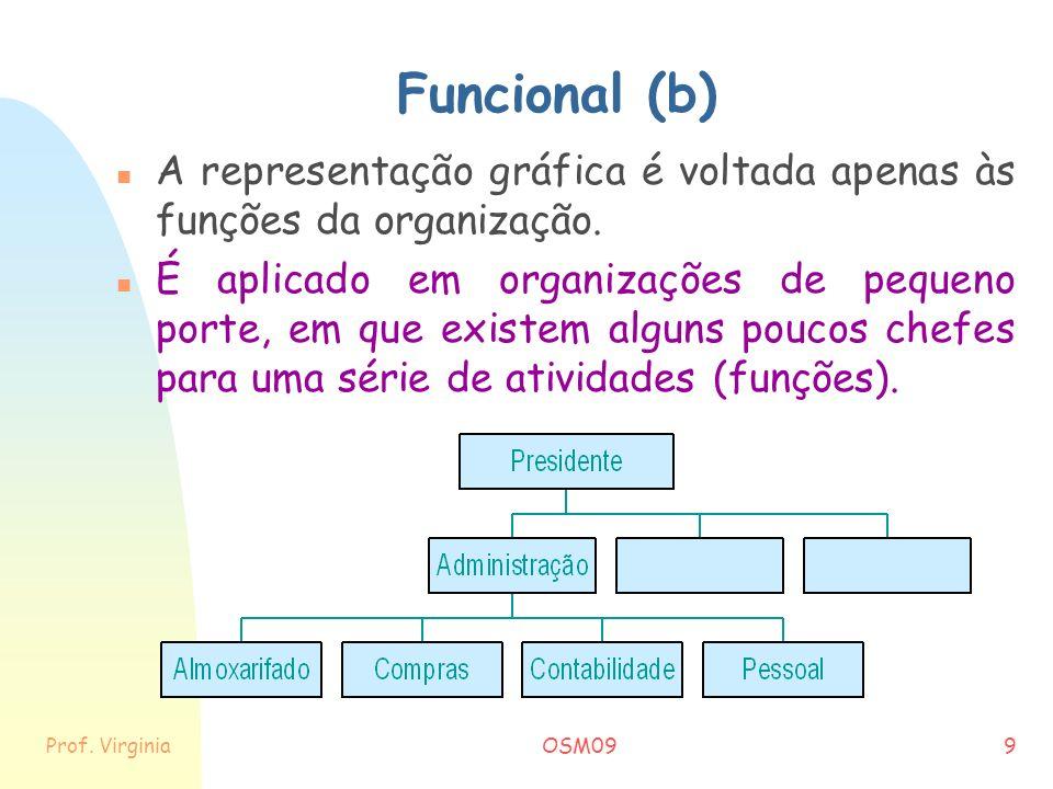 Funcional (b) A representação gráfica é voltada apenas às funções da organização.