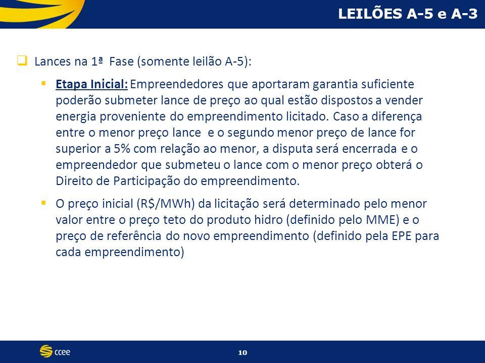 LEILÕES A-5 e A-3 Lances na 1ª Fase (somente leilão A-5):