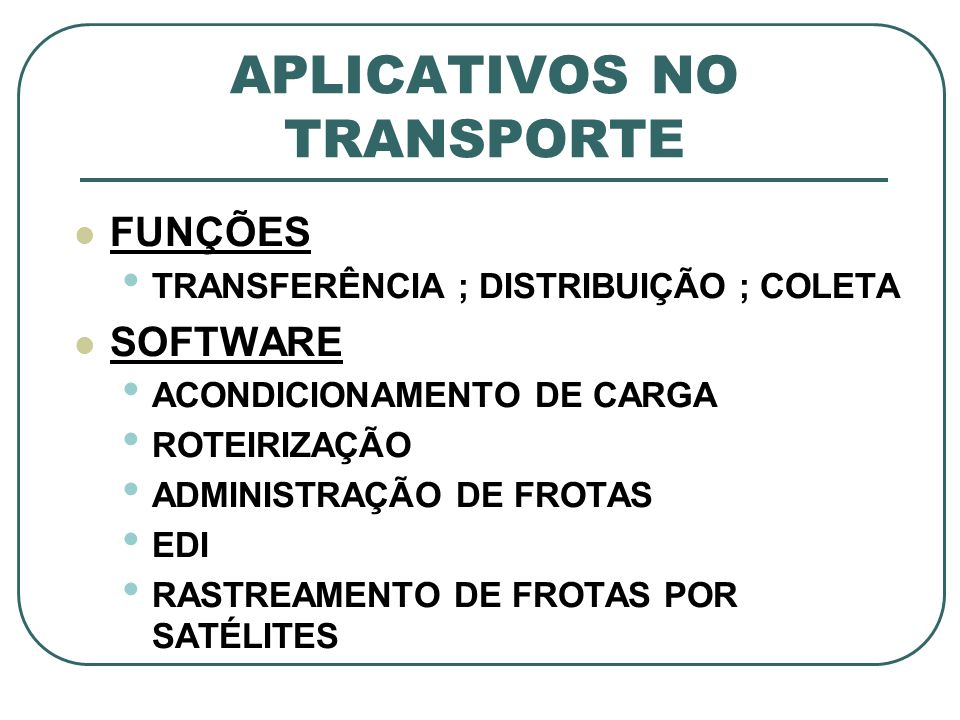 APLICATIVOS NO TRANSPORTE