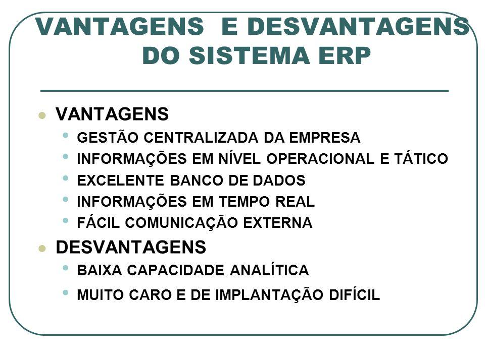 VANTAGENS E DESVANTAGENS DO SISTEMA ERP