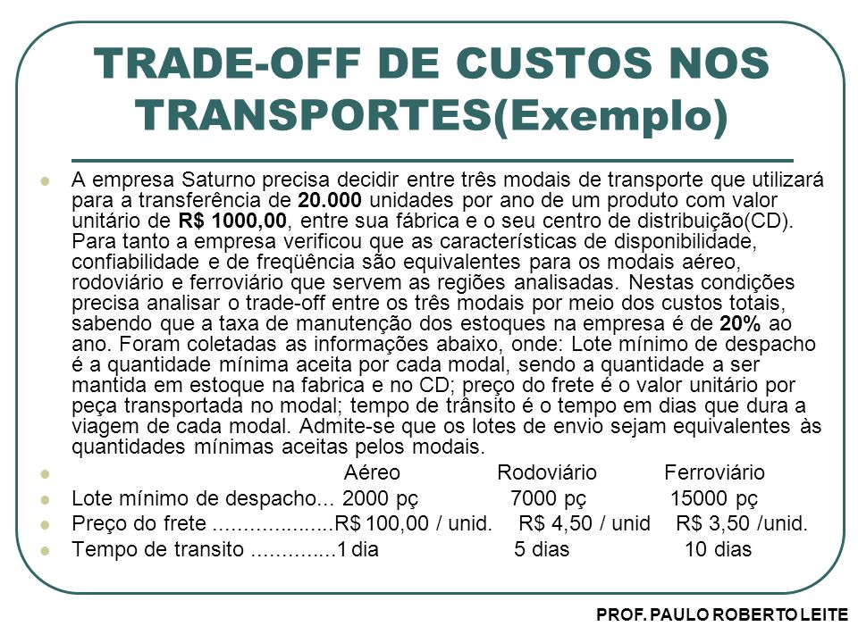 TRADE-OFF DE CUSTOS NOS TRANSPORTES(Exemplo)