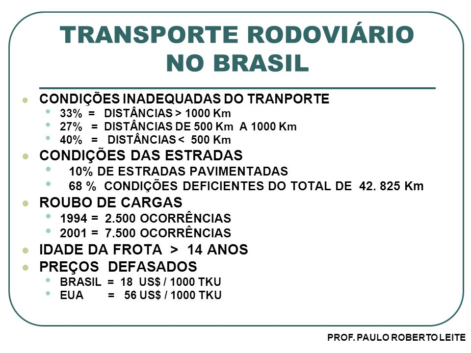 TRANSPORTE RODOVIÁRIO NO BRASIL