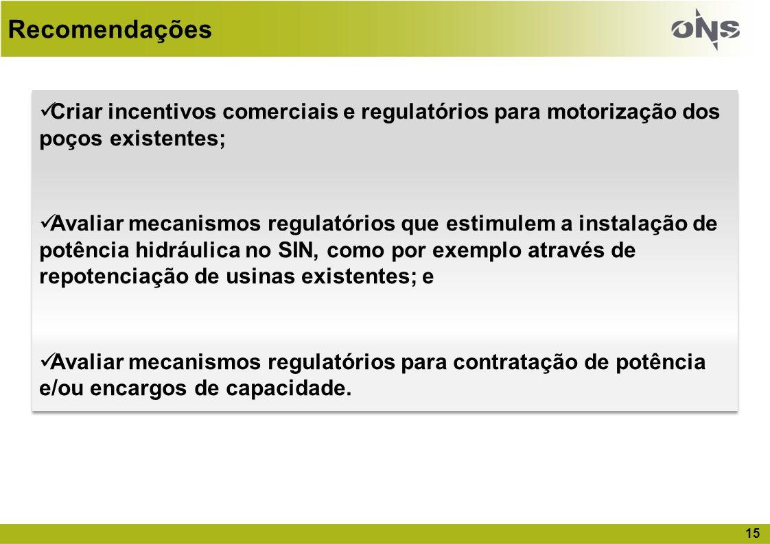 Recomendações Criar incentivos comerciais e regulatórios para motorização dos poços existentes;