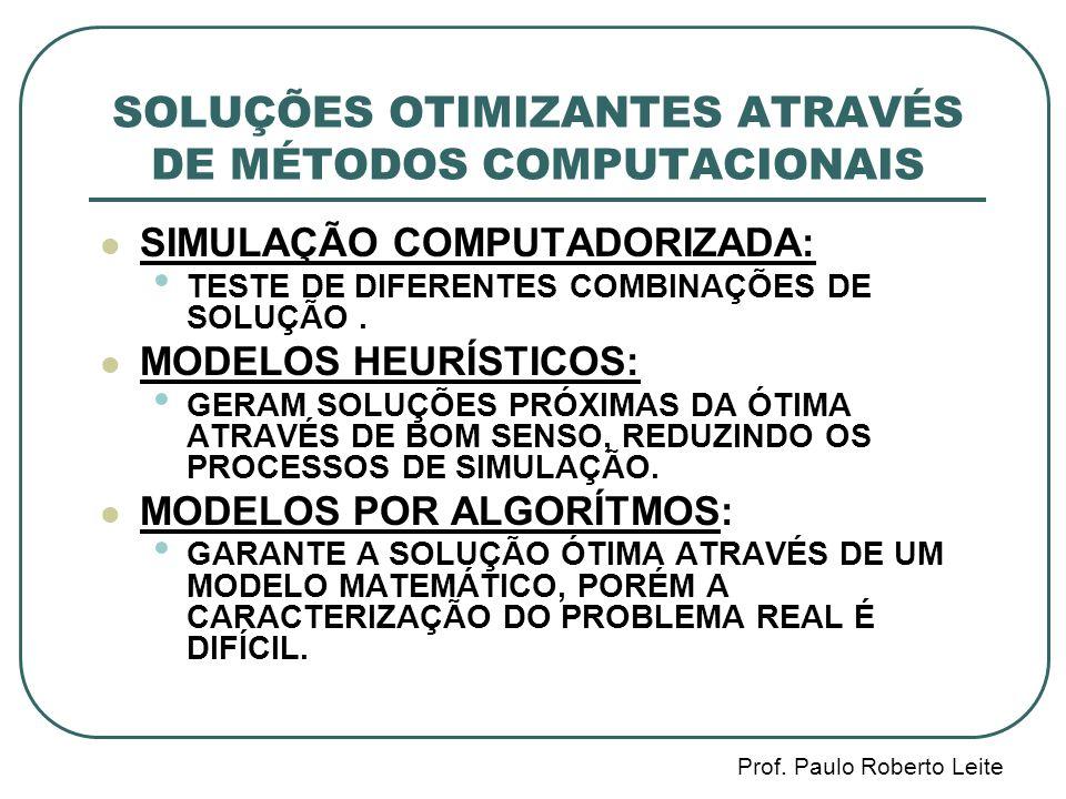 SOLUÇÕES OTIMIZANTES ATRAVÉS DE MÉTODOS COMPUTACIONAIS