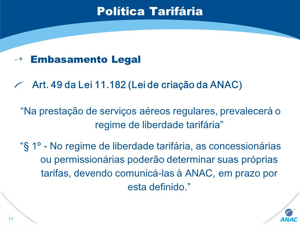 Política Tarifária Embasamento Legal