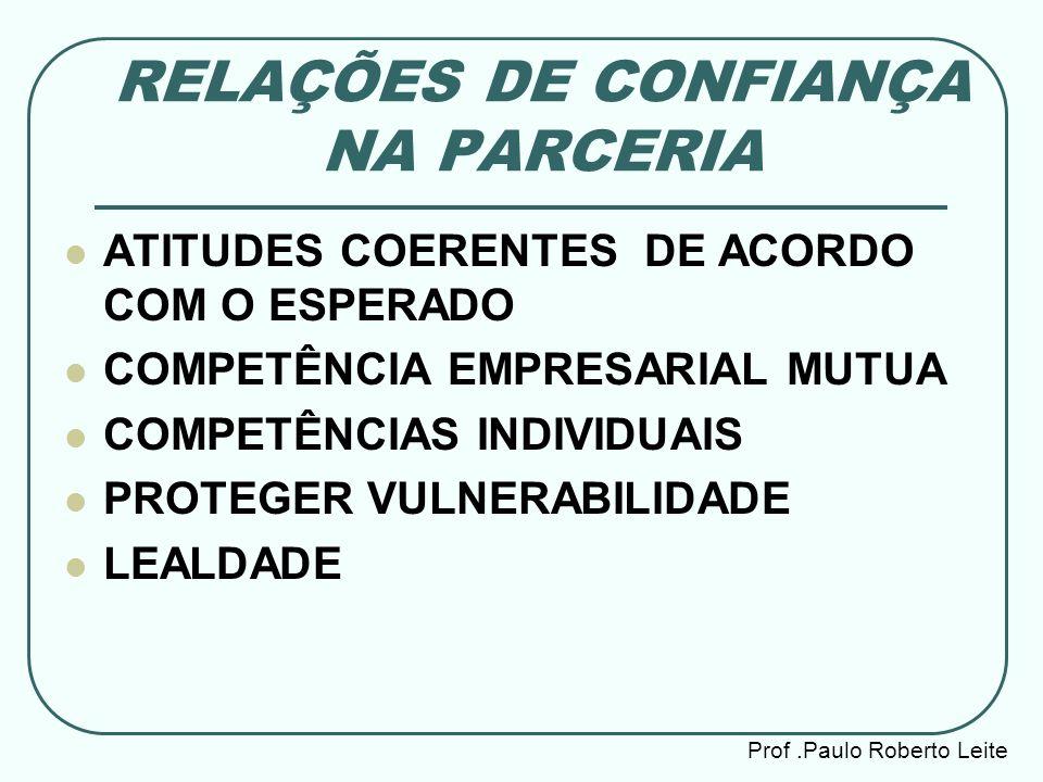 RELAÇÕES DE CONFIANÇA NA PARCERIA