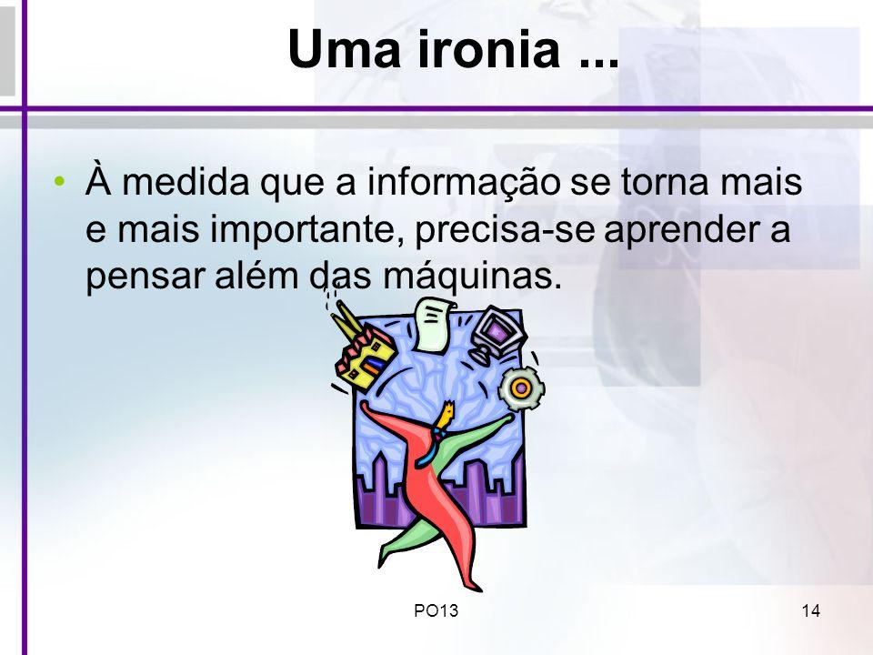 Uma ironia ... À medida que a informação se torna mais e mais importante, precisa-se aprender a pensar além das máquinas.
