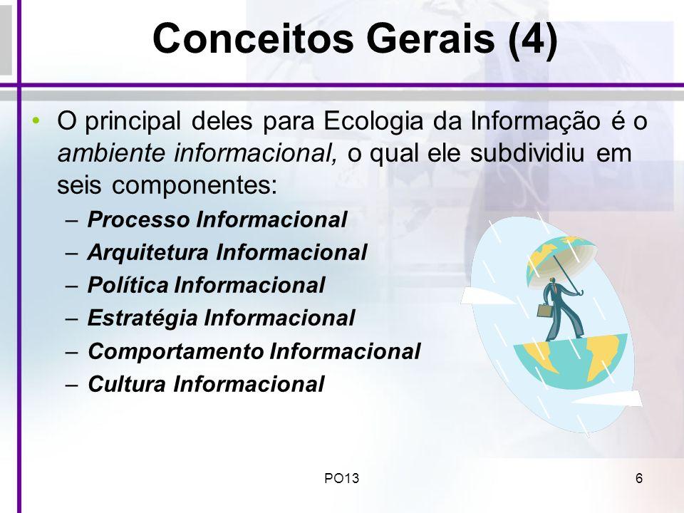 Conceitos Gerais (4) O principal deles para Ecologia da Informação é o ambiente informacional, o qual ele subdividiu em seis componentes: