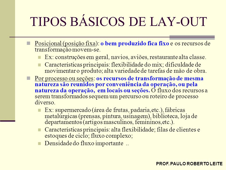 TIPOS BÁSICOS DE LAY-OUT