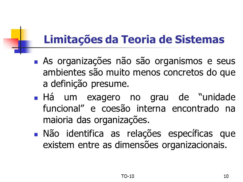 Limitações da Teoria de Sistemas