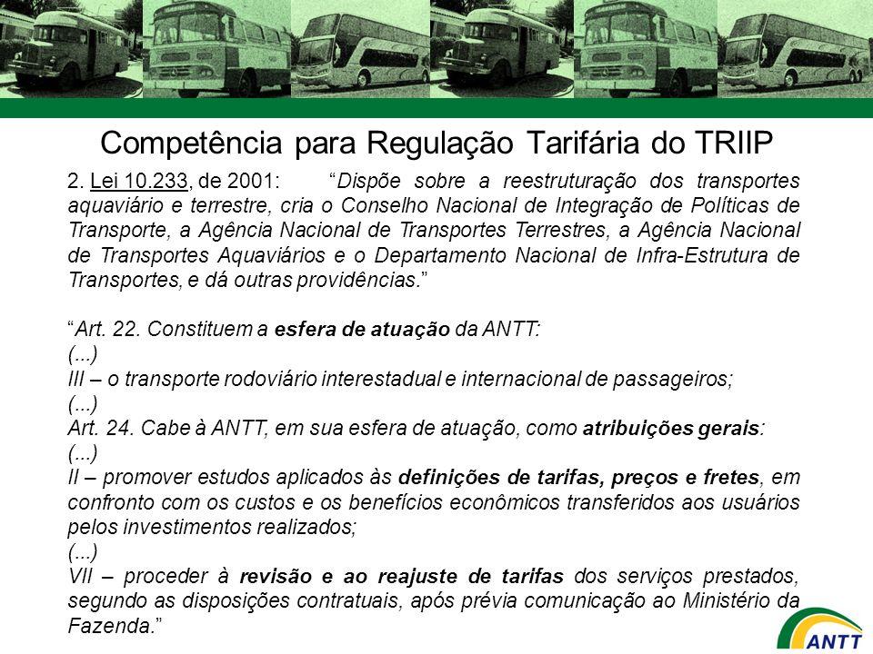 Competência para Regulação Tarifária do TRIIP