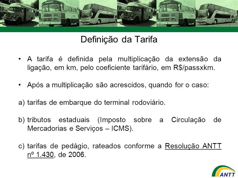Definição da Tarifa A tarifa é definida pela multiplicação da extensão da ligação, em km, pelo coeficiente tarifário, em R$/passxkm.