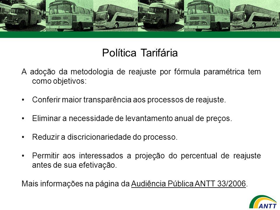 Política Tarifária A adoção da metodologia de reajuste por fórmula paramétrica tem como objetivos: