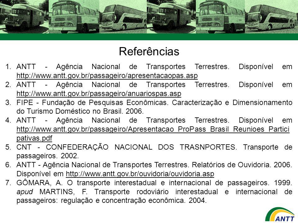 Referências ANTT - Agência Nacional de Transportes Terrestres. Disponível em http://www.antt.gov.br/passageiro/apresentacaopas.asp.