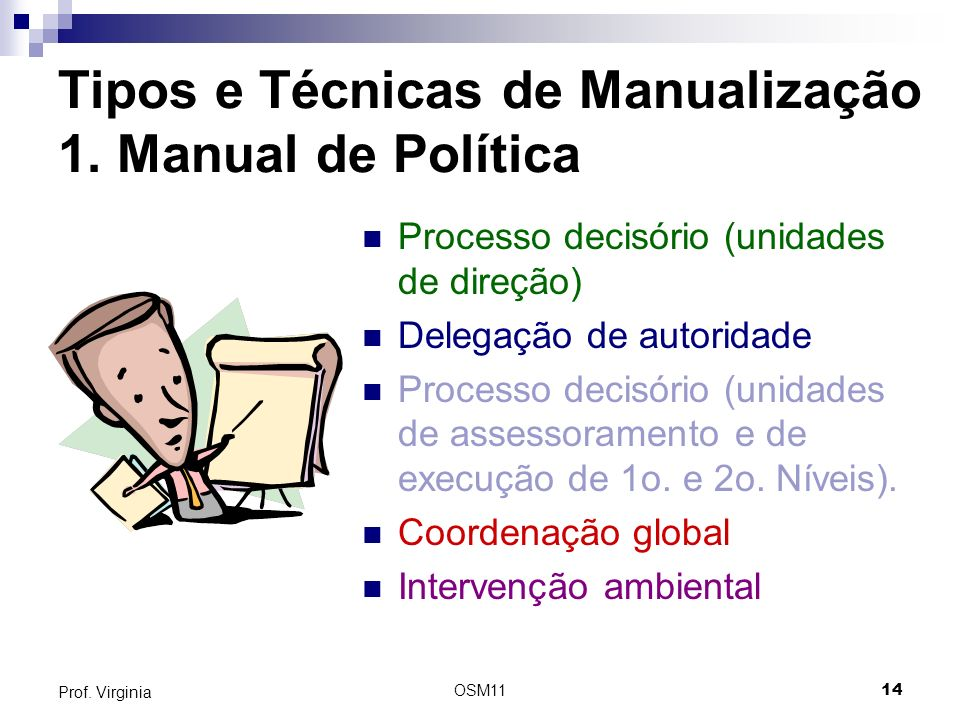 Tipos e Técnicas de Manualização 1. Manual de Política