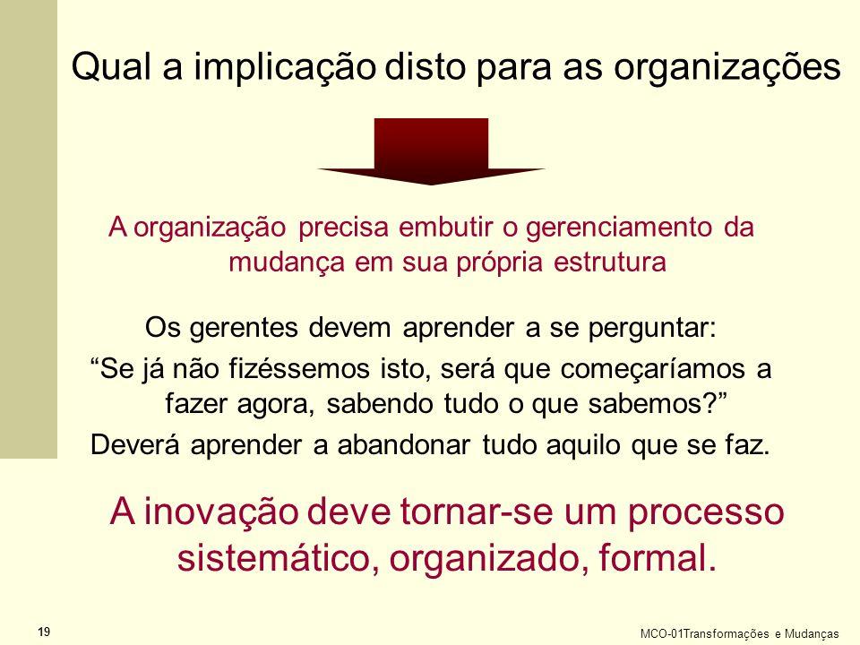 Qual a implicação disto para as organizações