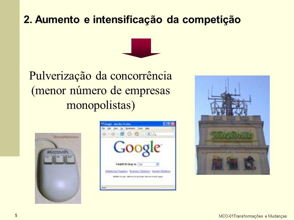 Pulverização da concorrência (menor número de empresas monopolistas)
