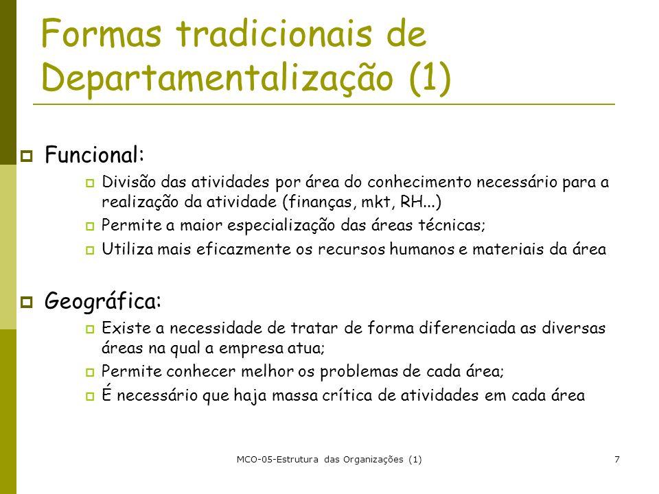 Formas tradicionais de Departamentalização (1)
