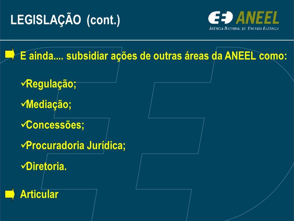 LEGISLAÇÃO (cont.)E ainda.... subsidiar ações de outras áreas da ANEEL como: Regulação; Mediação; Concessões;