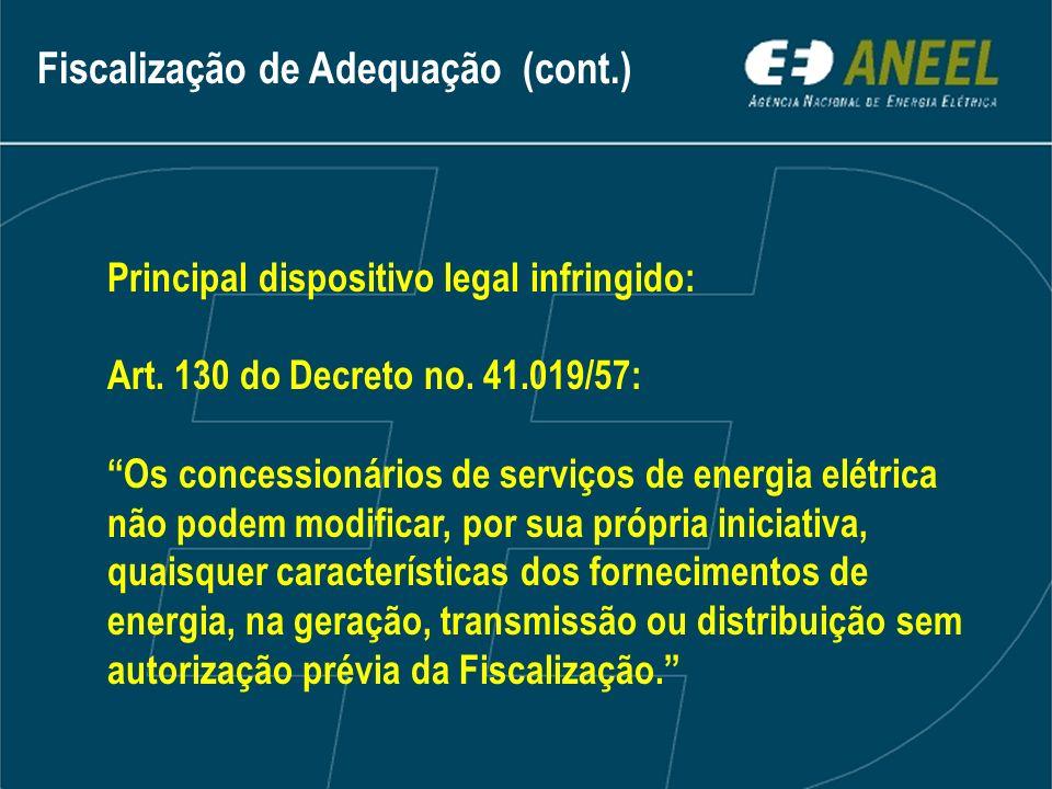 Fiscalização de Adequação (cont.)