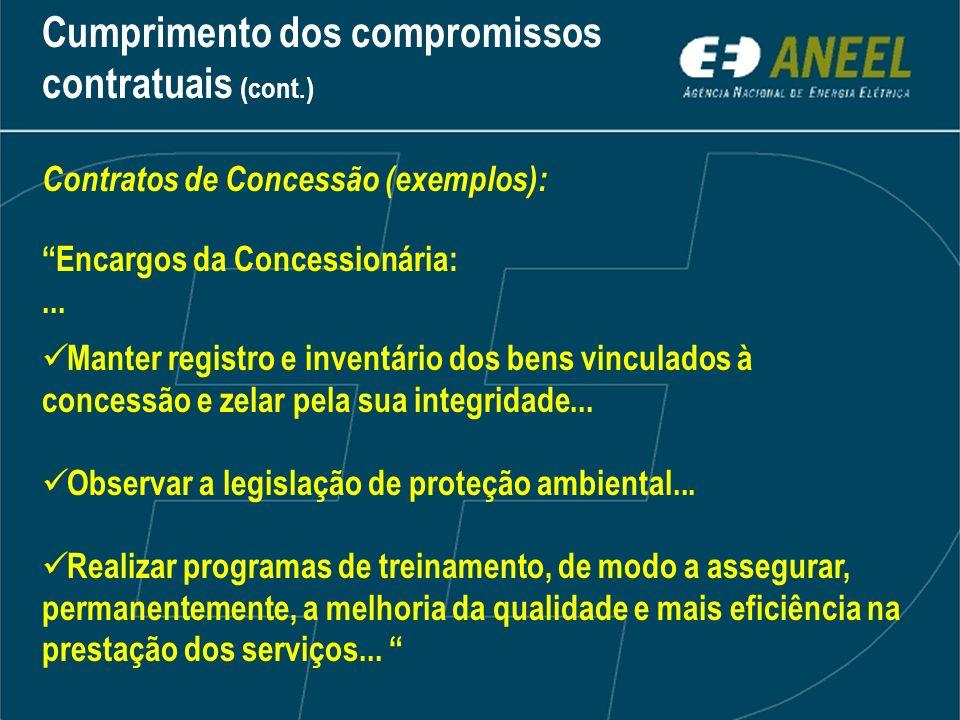 Cumprimento dos compromissos contratuais (cont.)