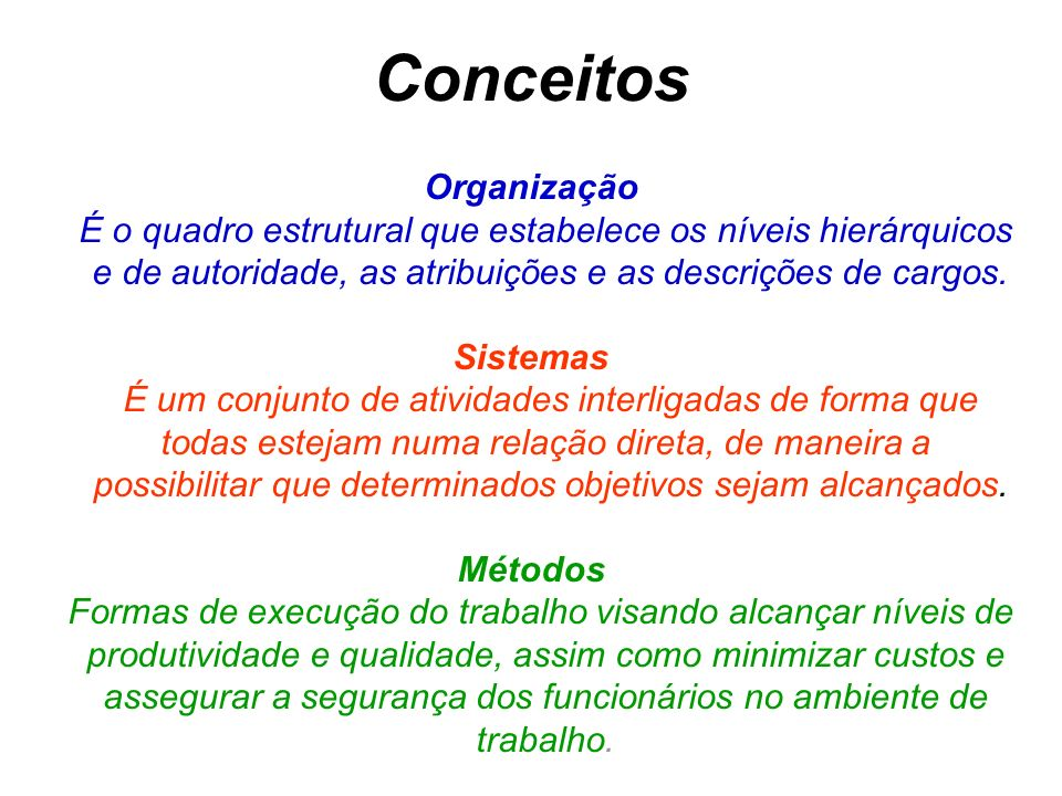 Conceitos Organização