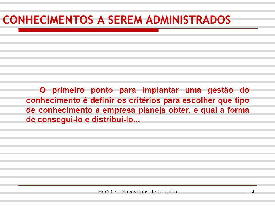 CONHECIMENTOS A SEREM ADMINISTRADOS