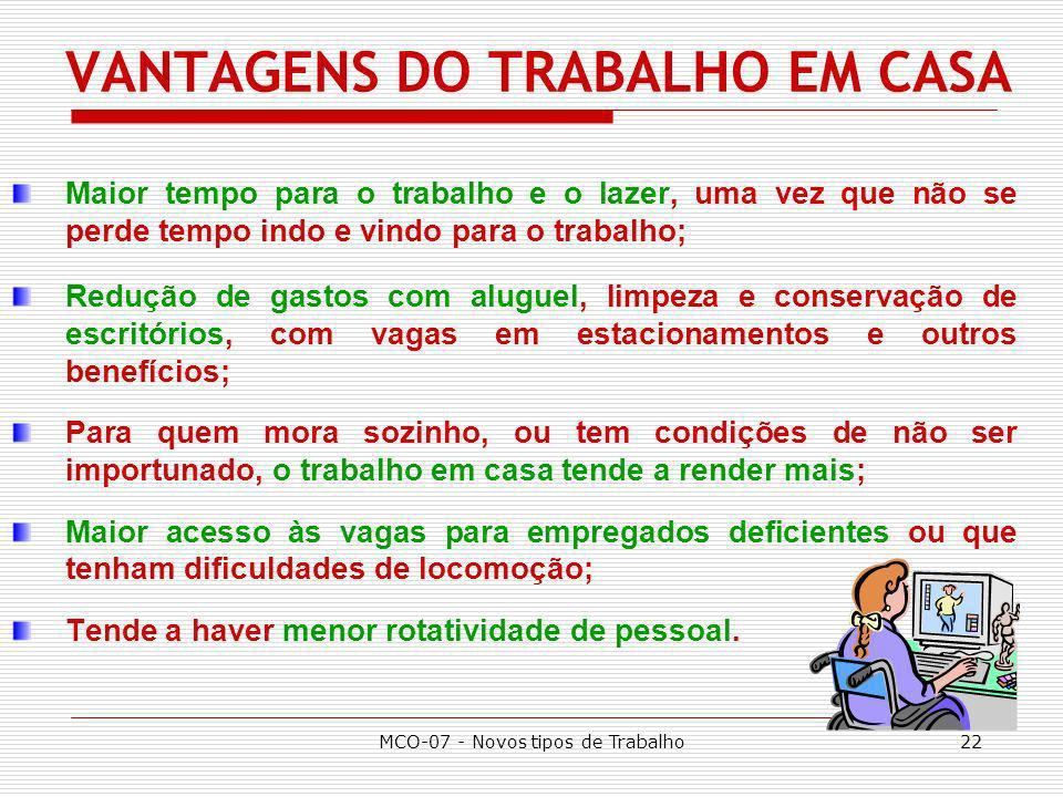 VANTAGENS DO TRABALHO EM CASA