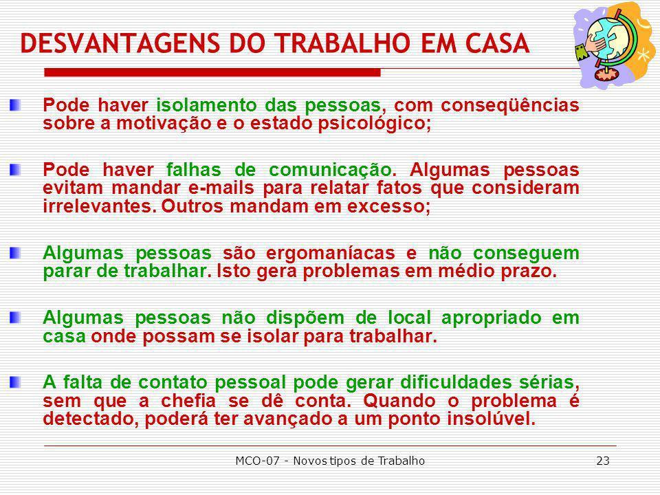 DESVANTAGENS DO TRABALHO EM CASA