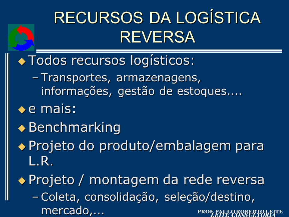 RECURSOS DA LOGÍSTICA REVERSA