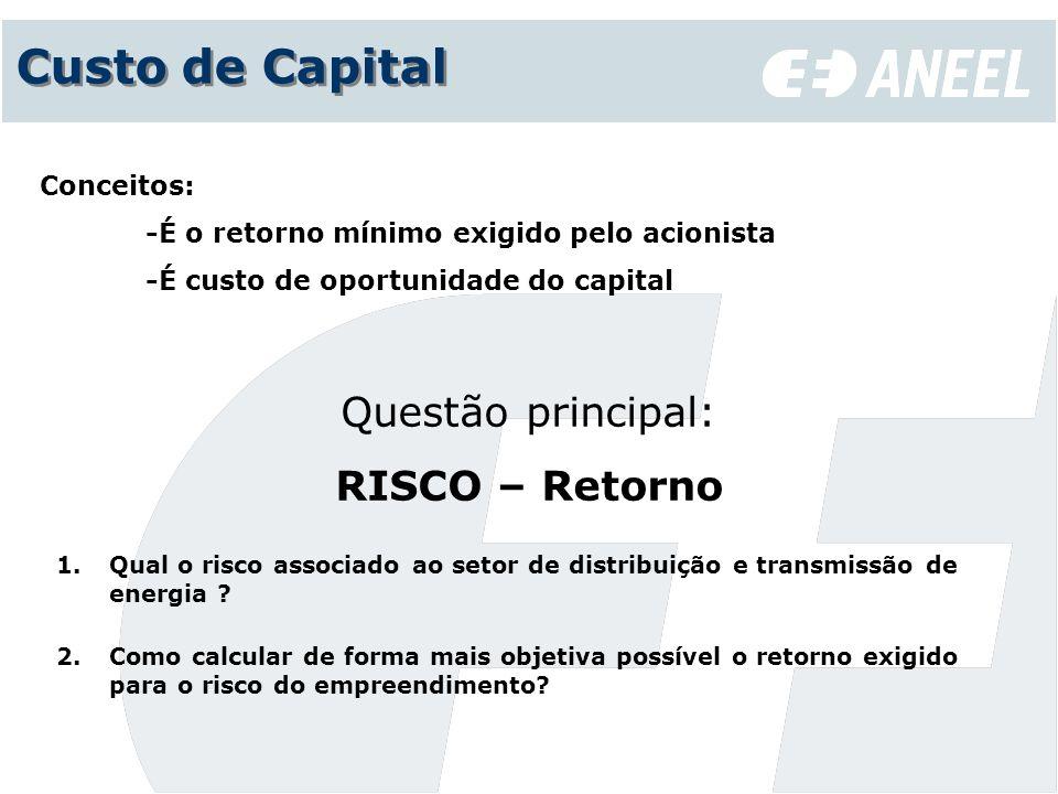Custo de Capital Questão principal: RISCO – Retorno Conceitos: