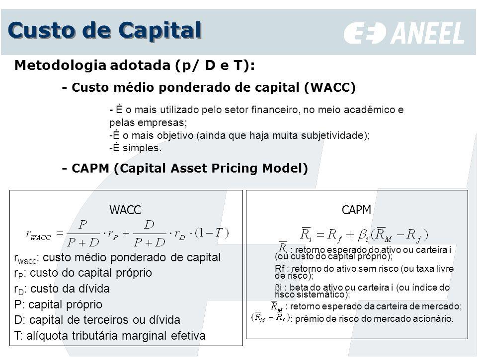 Custo de Capital Metodologia adotada (p/ D e T):