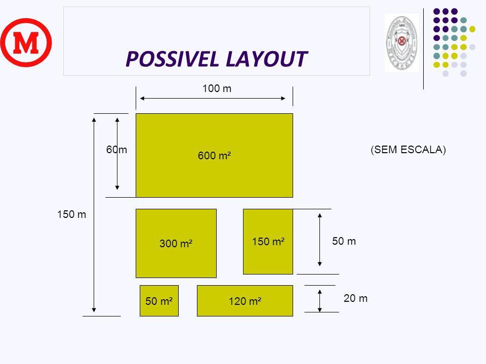 POSSIVEL LAYOUT 100 m 600 m² 60m (SEM ESCALA) 150 m 300 m² 150 m² 50 m