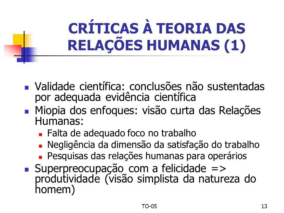 CRÍTICAS À TEORIA DAS RELAÇÕES HUMANAS (1)