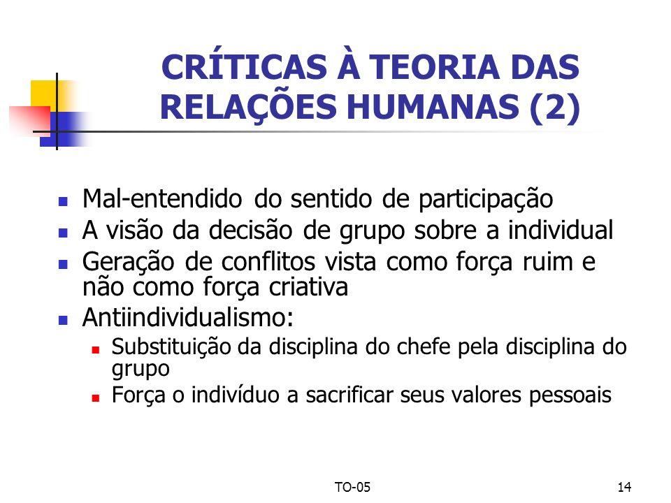 CRÍTICAS À TEORIA DAS RELAÇÕES HUMANAS (2)