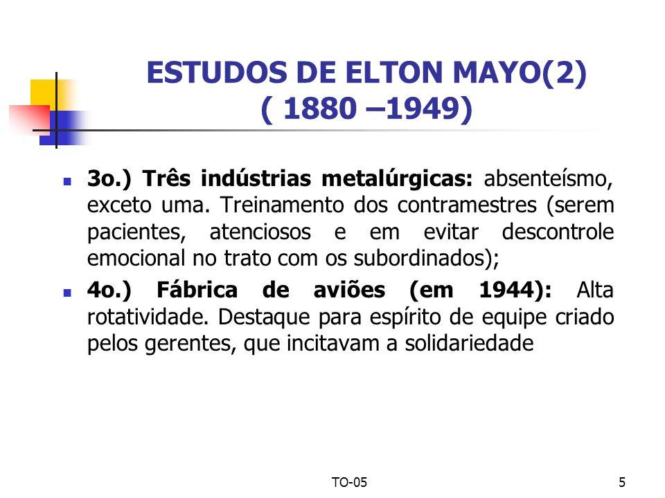 ESTUDOS DE ELTON MAYO(2) ( 1880 –1949)